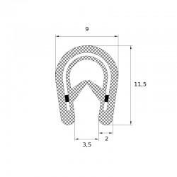 Joint en forme de U pour protection de bord tôle épaisseur 2 à 4 mm