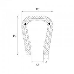 Joint en forme de U pour protection de bord tôle épaisseur 6 à 8 mm