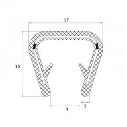 Joint en forme de U pour protection de bord tôle épaisseur 8 à 10 mm