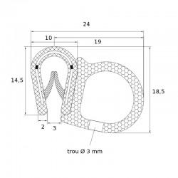 EP 0702 - Joint en U avec tube souple pour tole de 2 à 4 mm - lg 25 m