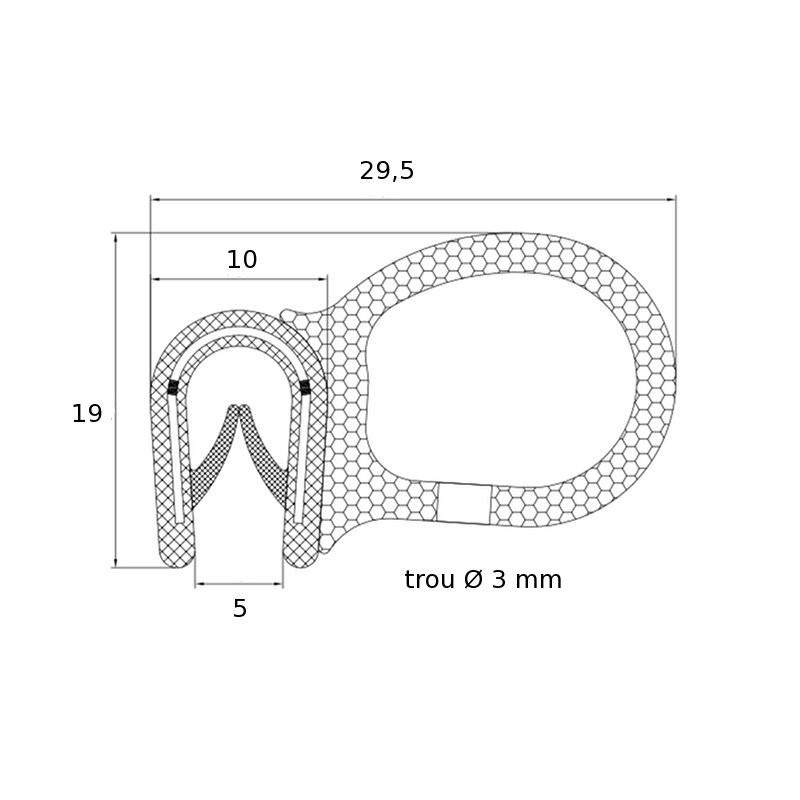 Joint en U avec tube souple pour tole de 2 à 4 mm