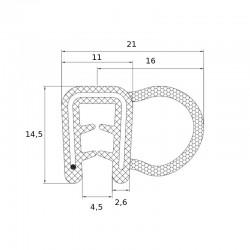 Joint en U avec tube souple pour tole de 2 à 3 mm