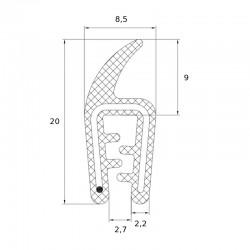 Joint en U avec tube souple pour tole de 1 à 2 mm