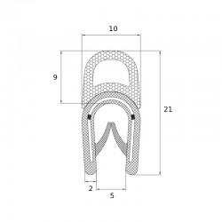 Joint en U avec tube d'étanchéité souple pour tôle de 2 à 4 mm - lg 25 m