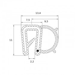 Joint en U avec tube d'étanchéité souple pour tôle de 1 à 2 mm - lg 25 m