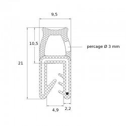 Joint en U avec tube d'étanchéité souple pour tôle de 1 à 3 mm - lg 25 m