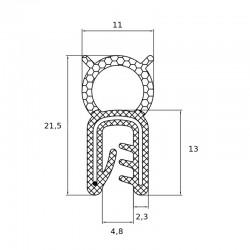 oint en U avec tube d'étanchéité souple pour tôle de 1 à 3 mm - lg 25 m