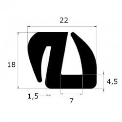 Joint de pare brise en S ouverture 1,5 et 7 mm