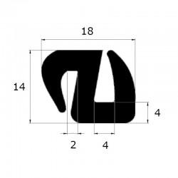 Joint de pare brise en S 18x14mm