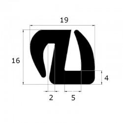 Joint de pare brise 19 x 16 mm