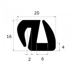 Joint de pare brise en S 20x16mm