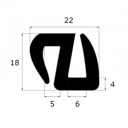 Joint de pare brise 23 x 18 mm