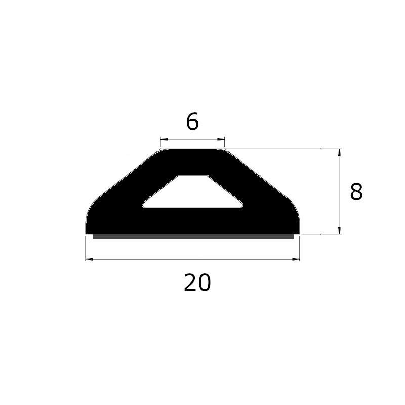 profil butoir de protection en forme delta 20 x 8 mm avec une face adhésive