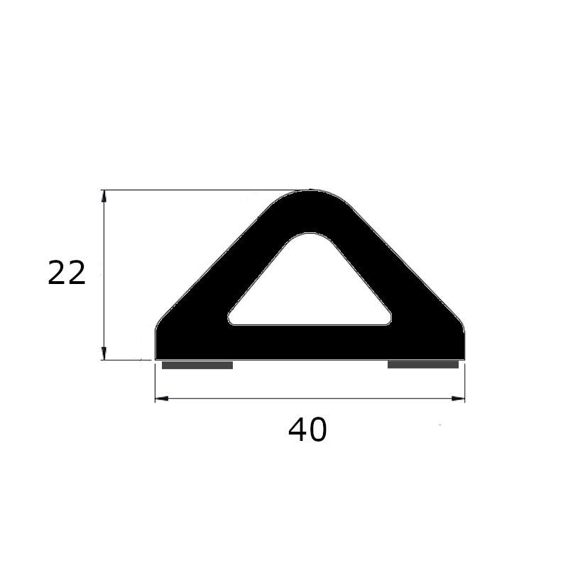 Butoir anti-choc delta noir 40 x 22 mm avec adhésif