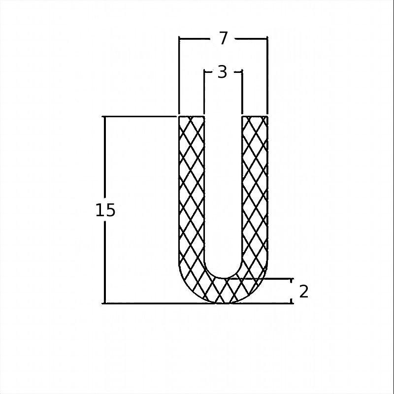 Joint en U pour tôle de 3 mm