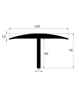 profil T pont à bascule épaisseur 7mm